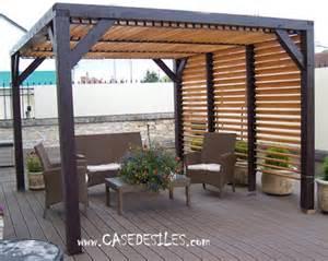 auvent de terrasse bois avec ventelles 10mc vt3531 pas cher
