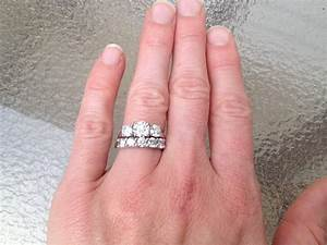Wedding bands for a three stone oval ring weddingbee for Three stone wedding ring set