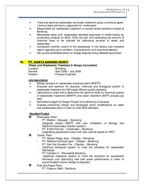 Wastewater Treatment Resume by Resume Cv Deni Hendrayani Update 24 May 2015