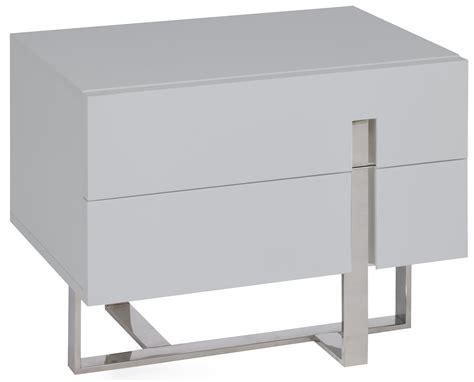 Table De Chevet Moderne Gris Laqué Et Acier Dezina