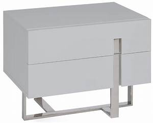 Table De Chevet Verre : table de chevet moderne gris laqu et acier dezina ~ Teatrodelosmanantiales.com Idées de Décoration