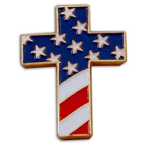 American Cross christian cross special design pin with usa flag