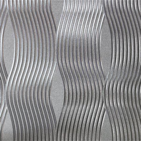 arthouse foil wave silver metallic wallpaper