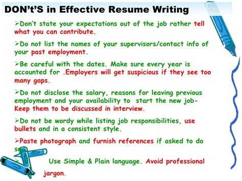 Resume Writing Pointers by Effective Resume Writing