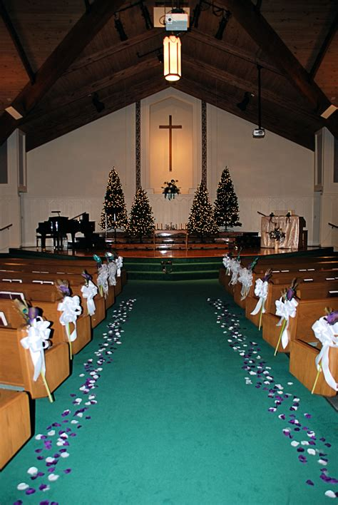 Church Decorations For A Winter Wedding Featuring Purple