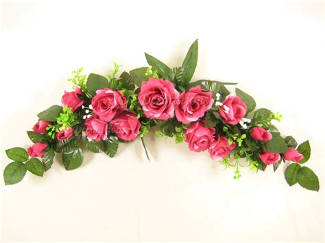artificial silk flowers rose swag slim table centrepiece