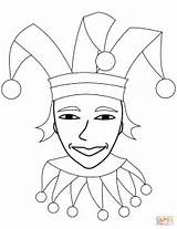 Jester Coloring Face Circus Printable Drawing Dot Supercoloring Categories sketch template