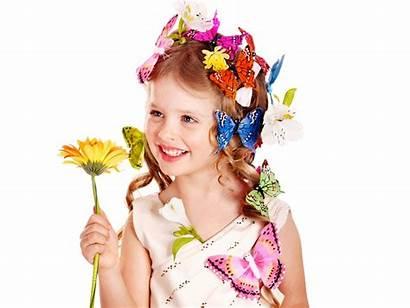 Child Wallpapers Flowers Flower Background Butterflies Blonde