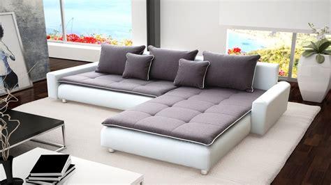 Big Corner Sofa by Large White Faux Leather Grey Fabric Corner Sofa