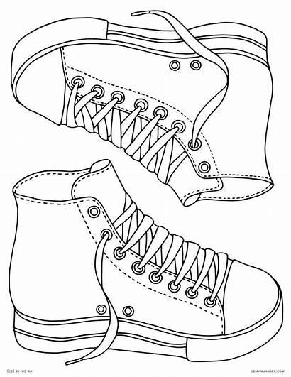 Coloring Sneakers Shoe Jordan Template Templates Nike