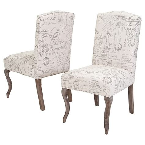 crown top french script fabric dining chair woodbeige set   christopher knight home target