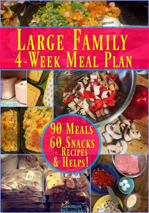 large family meal plan  weeks  family meals
