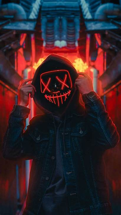 Mask Wallpapers Neon Hoodie Guy Anonymous Iphone