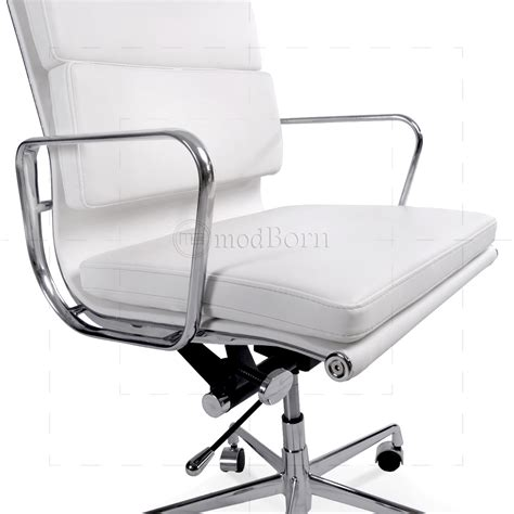 ea219 eames style office chair high back soft pad white