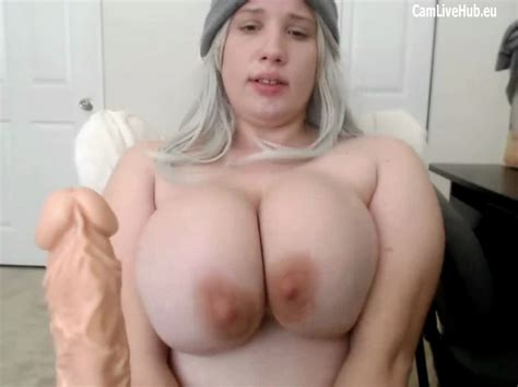 GIGANTIC BOOBS BBW TEEN CAM GIRL Sucking A Dildo Pt One On