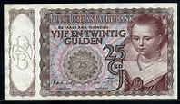 "Netherlands banknotes 25 Gulden banknote of 1944 ""The ..."