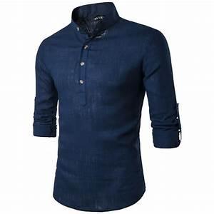 Chemise Sans Col Homme : chemise homme marque luxe chemise en lin couleur unie ~ Louise-bijoux.com Idées de Décoration