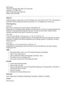 employment objective for truck driver resume sles flatbed truck driver resume
