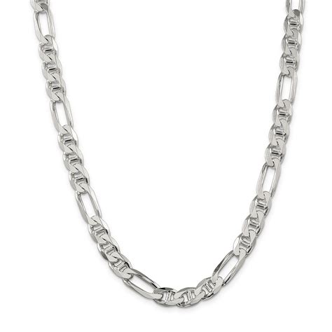 sterling silver mm figaro link anchor chain