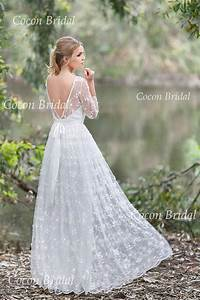 romantic boho wedding dress from chiffon italian lace With italian lace wedding dresses