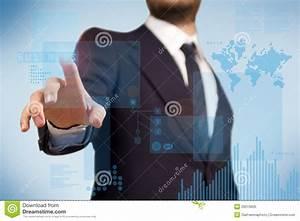 BusinessMan Using Futuristic Touch Screen Stock ...
