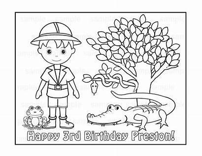 Coloring Pages Birthday Safari Personalized Jungle Printable