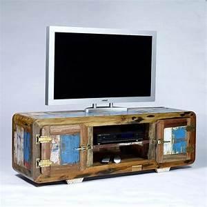 Meuble TV Vintage 2 Portes Bois De Bateau Recycl Pas Cher
