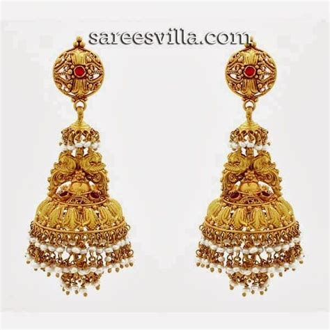 images  earrings gold jhumka  pinterest