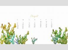 Free August Watercolor Desktop Calendar
