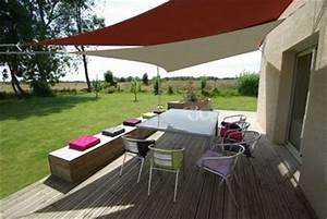Protection Soleil Terrasse : am nagement d 39 une terrasse d co avec un voile d 39 ombrage ~ Nature-et-papiers.com Idées de Décoration