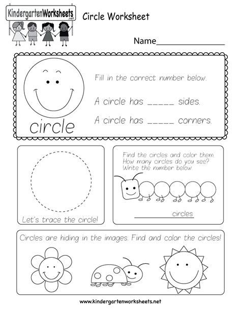 circle worksheet  kindergarten geometry worksheet