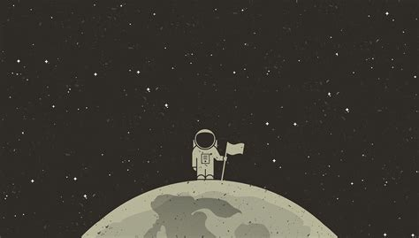 simple Background Simple Space Astronaut Flag