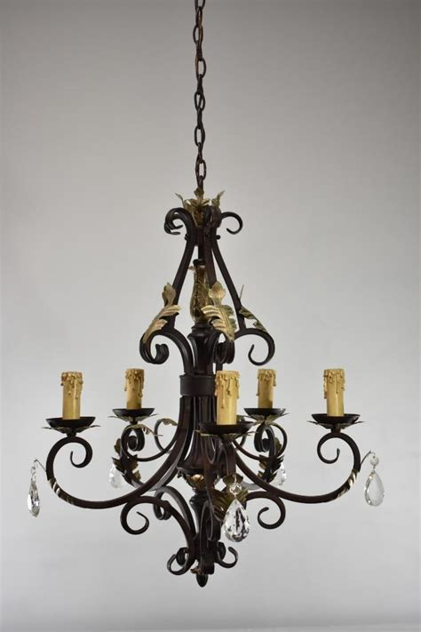 Vintage Wrought Iron Chandelier by Antique Wrought Iron 5 Arm Chandelier With Crystals