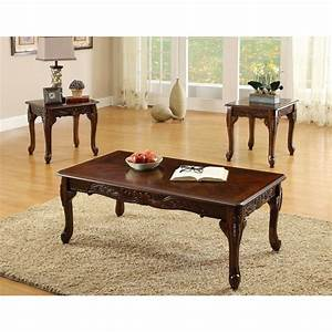 furniture of america mariefey classic 3 piece cherry With 3 piece coffee table and end tables