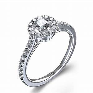 halo style crown detail round cut diamond engagement ring With halo style wedding rings