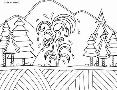 Coloring Yellowstone National Park Doodle Parks Alley