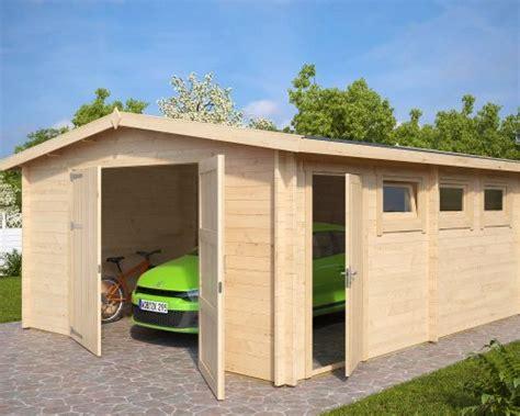 Large Wooden Garage Hansa B With Double Doors / 44mm / 4,5