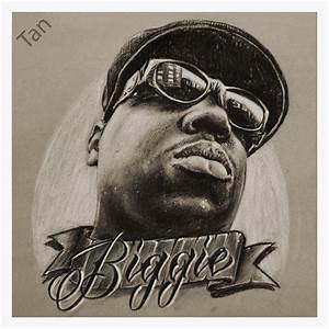 JEREMY WORST Biggie drawing sketch charcoal fine by ...