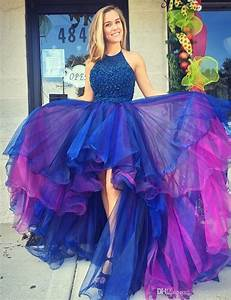 Gorgeous Hi Low Prom Dress 2017 Royal Blue Organza Beaded ...