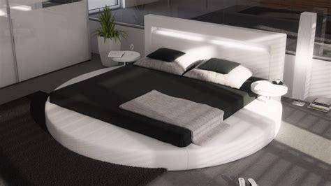 lit rond simili blanc avec eclairage integre  cm