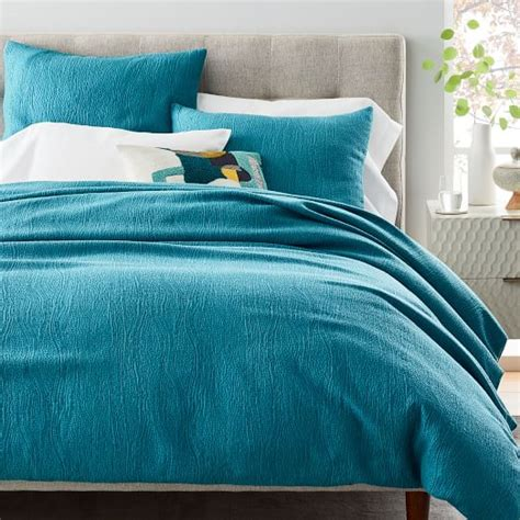 tencel cotton matelasse duvet cover shams blue teal