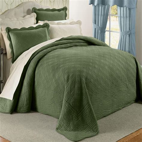 Green Coverlet King by Green 100 Cotton Scalloped Textured Bedspread King