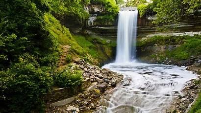 Park Minnesota Minnehaha Falls Waterfall Wallpapers Twin