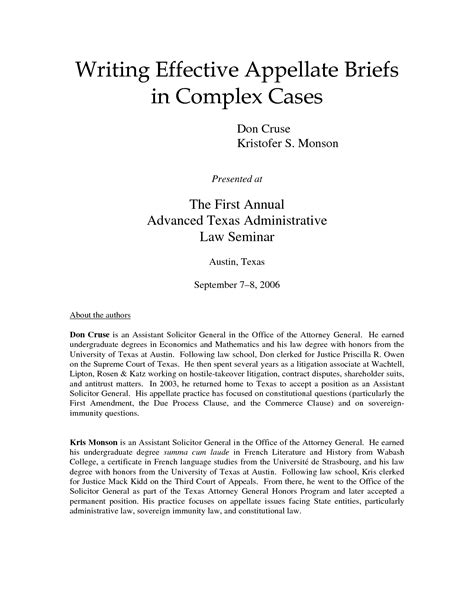 appellate brief table of authorities exle appellate brief cover page template
