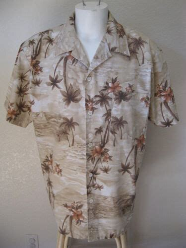Mens Cal Top L Hawaiian Shirt Beige Khaki Floral Palm