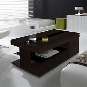 Table basse relevable wenge et verre noir meuble for Deco cuisine pour table basse relevable