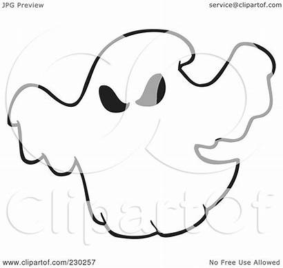 Ghost Outline Coloring Clipart Spooky Illustration Halloween