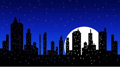 Skyline Night Cartoon Silhouette York Clipart Illustrations