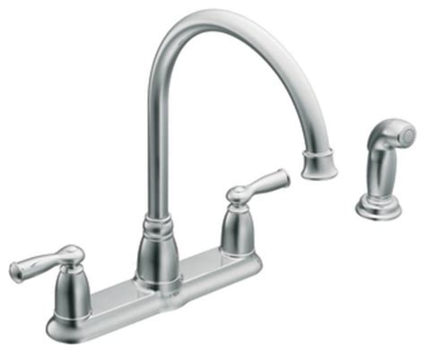 Moen 87000 Banbury Two Handle High Arc Kitchen Faucet With Decorations For Top Of Kitchen Cabinets Cabinet Manufacturers Association Colour Contrasting Catalog Cheap And Countertops Antique Knobs With Hardwood Floors