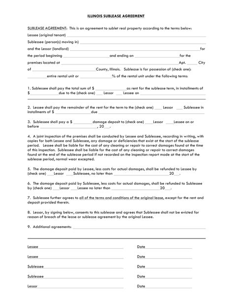 Sublease Agreement Template Free Illinois Sublease Agreement Template Pdf Word